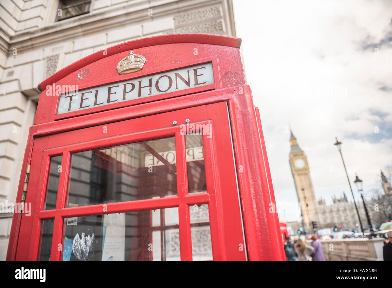 Red Telephone Box and Big Ben (Elizabeth Tower), Houses of Parliament, Westminster, London, England, United Kingdom, - Stock Image