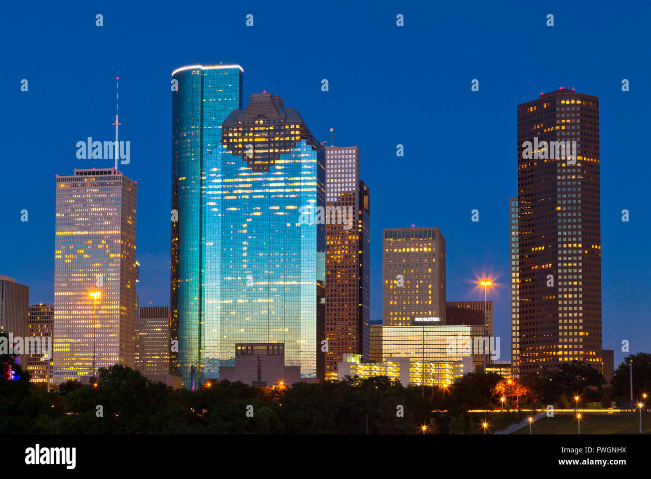 Houston skyline at night from Eleanor Tinsley Park, Texas, United States of America, North America - Stock Image