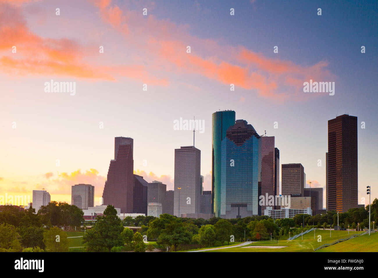 Houston skyline at dawn from Eleanor Tinsley Park, Texas, United States of America, North America - Stock Image