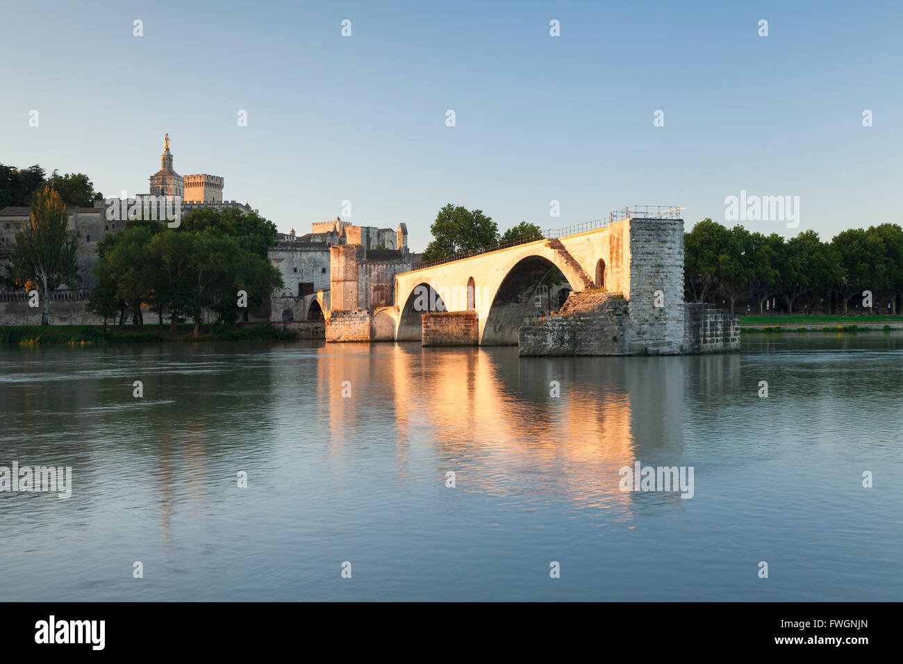 Bridge St. Benezet over Rhone River, UNESCO, Avignon, Vaucluse, Provence-Alpes-Cote d'Azur, France - Stock Image