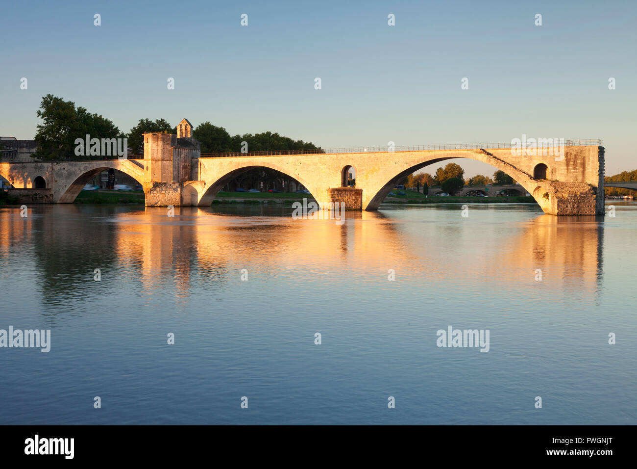 Bridge St. Benezet over Rhone River at sunrise, UNESCO, Avignon, Vaucluse, Provence-Alpes-Cote d'Azur, France - Stock Image