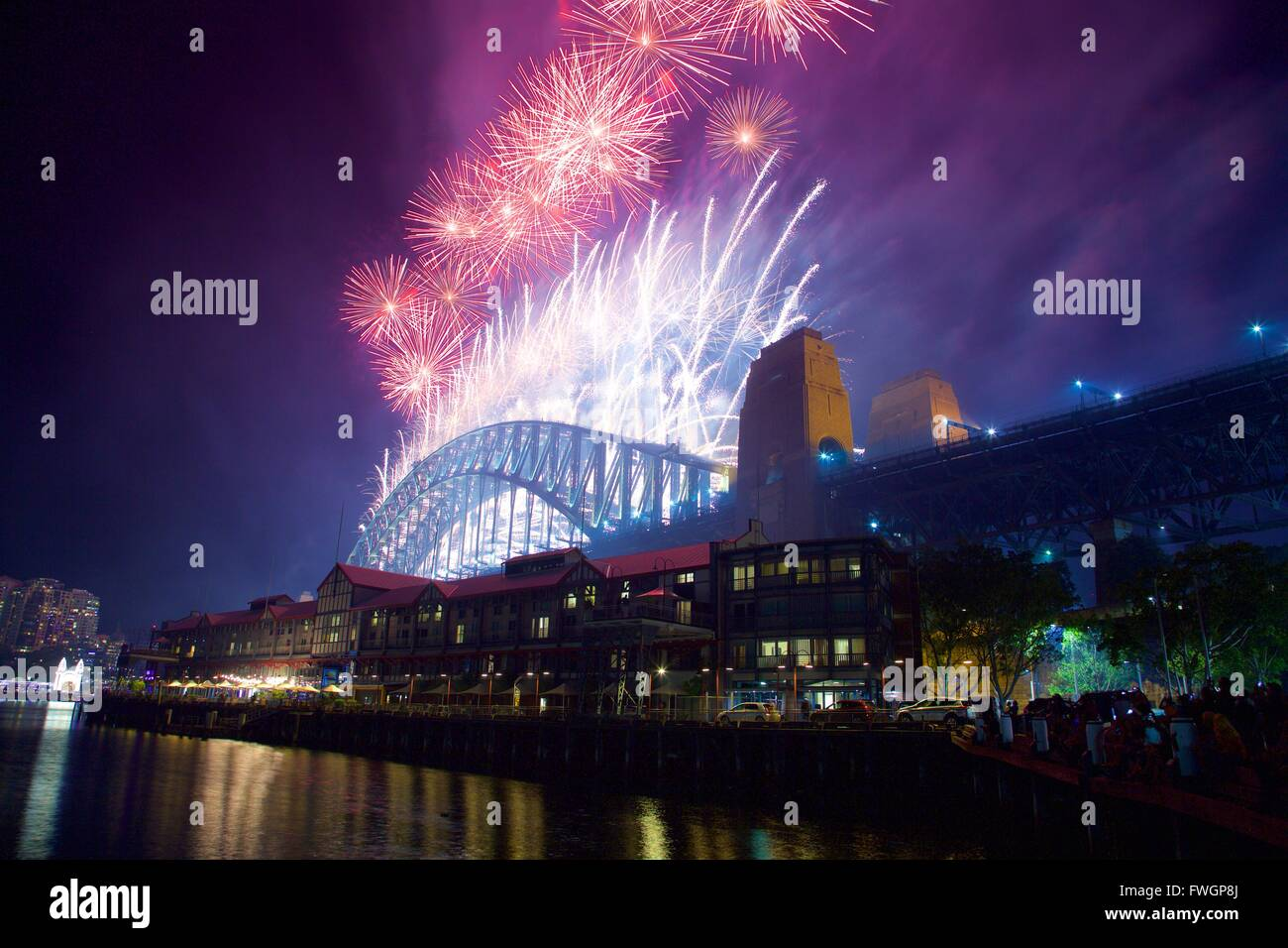 Sydney Harbour Bridge & New Years Eve Fireworks, Sydney, New South Wales, Australia, Oceania - Stock Image