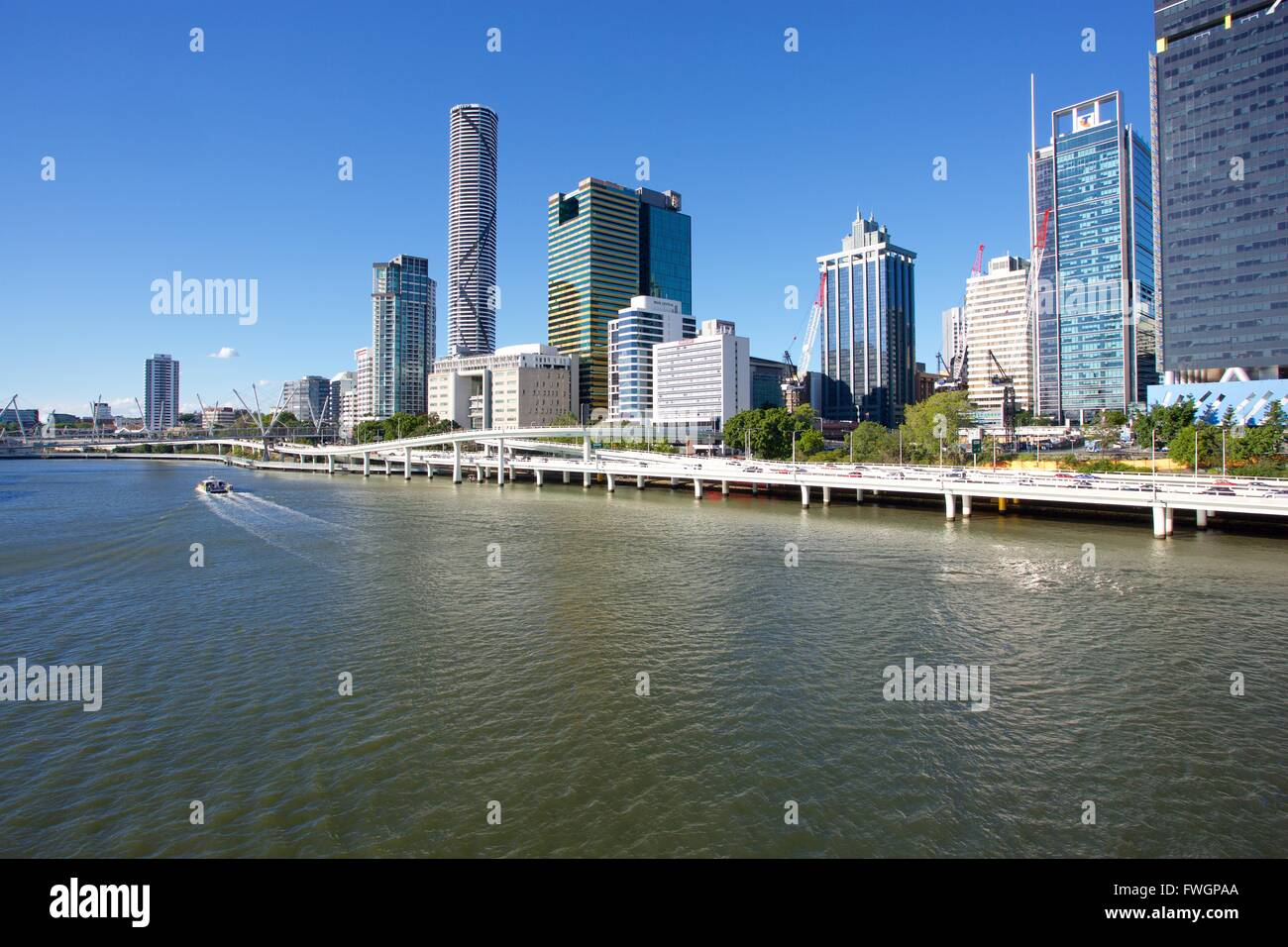 City Skyline from Victoria Bridge, Brisbane, Queensland, Australia, Oceania - Stock Image