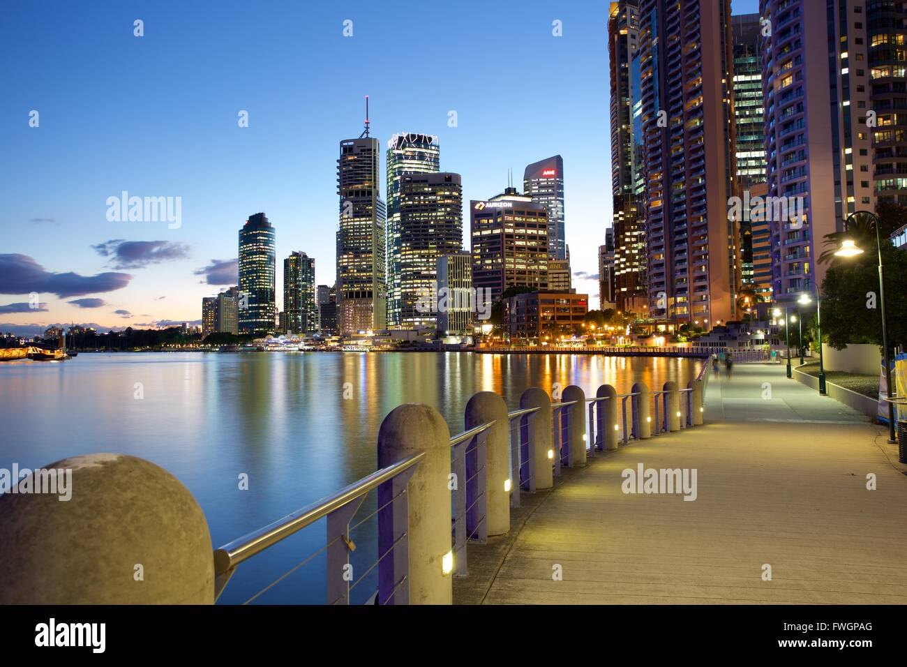 Brisbane River and City at Dusk, Brisbane, Queensland, Australia, Oceania - Stock Image
