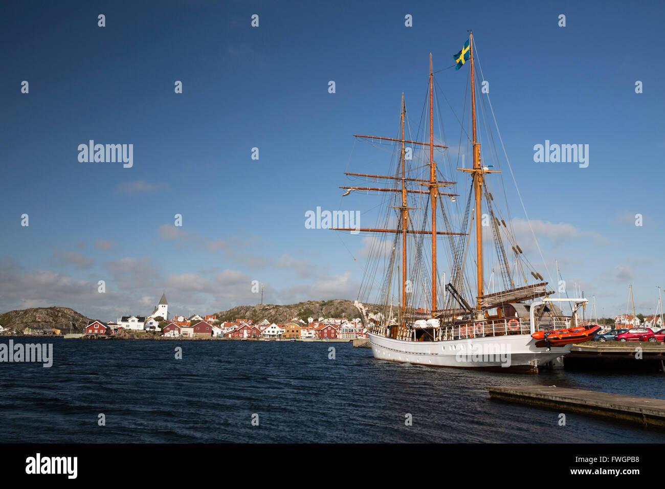 Tall ship in harbour, Skarhamn, Tjorn, Bohuslan Coast, Southwest Sweden, Sweden, Europe - Stock Image