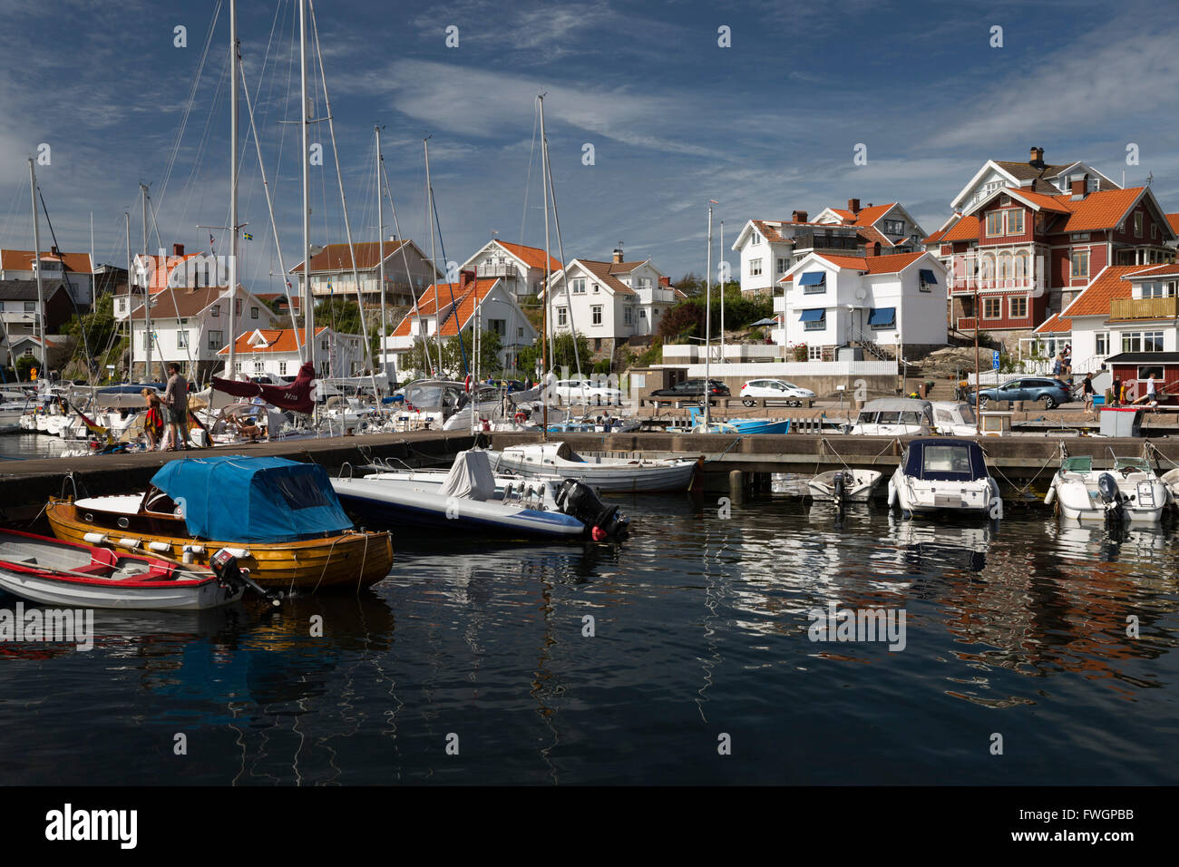 View over harbour of old fishing village, Mollosund, Orust, Bohuslan Coast, Southwest Sweden, Sweden, Scandinavia, Stock Photo