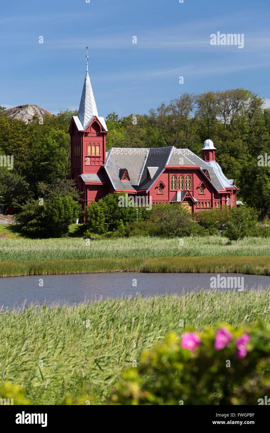 Halleviksstrands Kyrka church, Halleviksstrand, Orust, Bohuslan Coast, Southwest Sweden, Sweden, Scandinavia, Europe - Stock Image