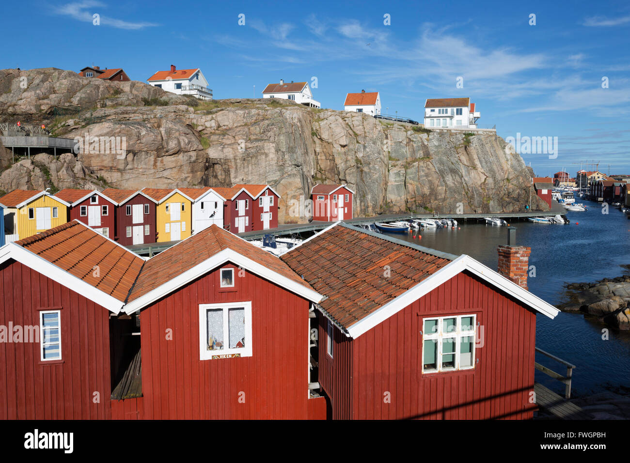 Traditional falu red fishermen's houses in harbour, Smogen, Bohuslan Coast, Southwest Sweden, Sweden, Scandinavia, Stock Photo