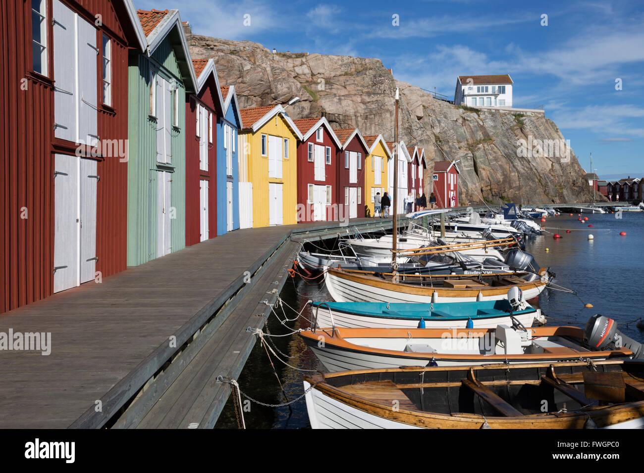 Traditional falu red fishermen's houses in harbour, Smogen, Bohuslan Coast, Southwest Sweden, Sweden, Scandinavia, - Stock Image