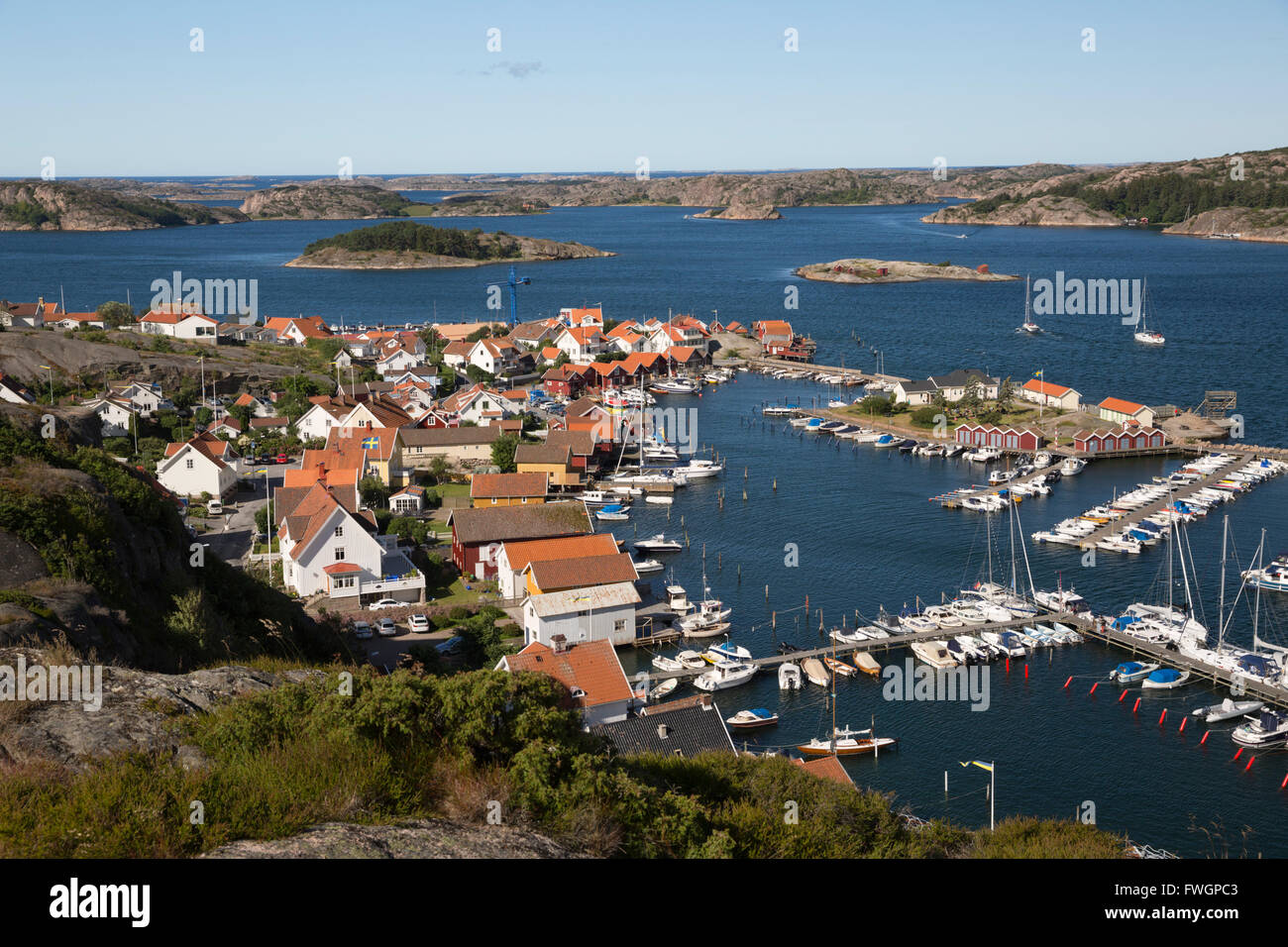 View over harbour and town from Vetteberget cliff, Fjallbacka, Bohuslan Coast, Southwest Sweden, Sweden, Scandinavia, - Stock Image