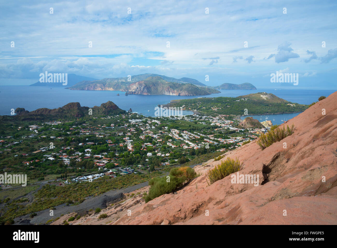 Porto di Levante and Vulcanello view, Vulcano Island, Aeolian Islands, UNESCO, north of Sicily, Italy Stock Photo