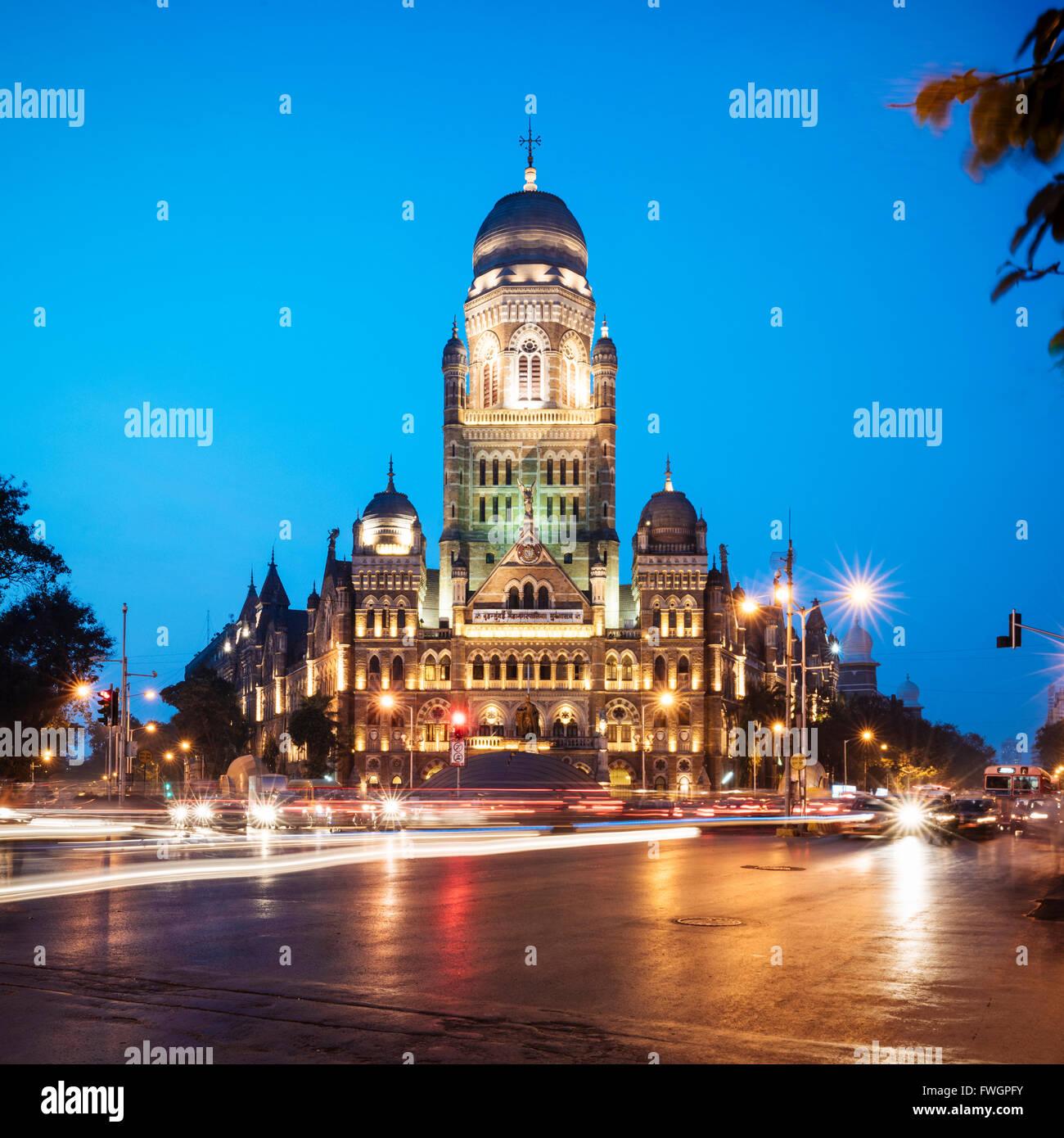 Exterior of Mumbai Municipal corporation building, Mumbai (Bombay), India, South Asia - Stock Image