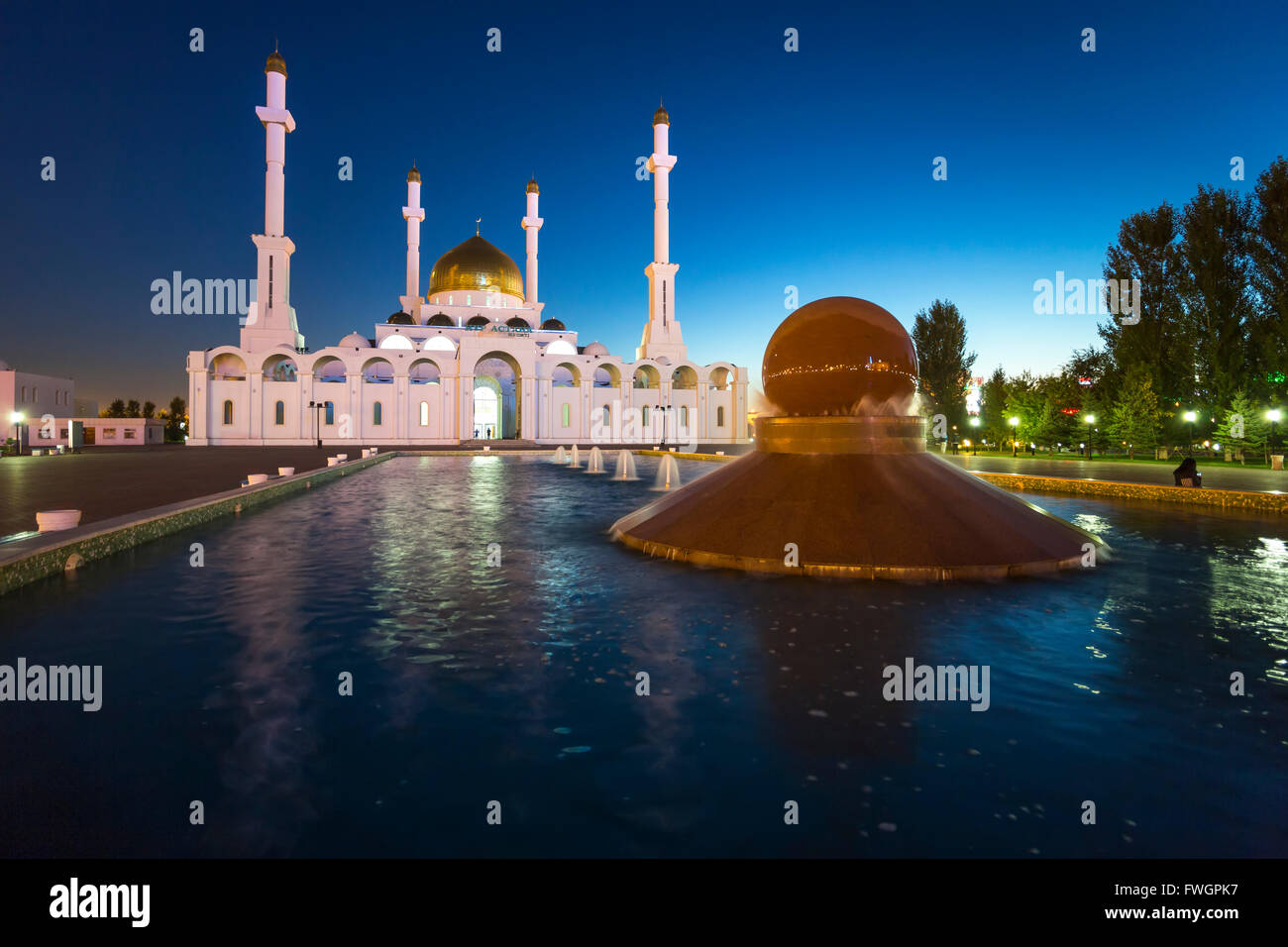 Nur Astana Mosque at dusk, Astana, Kazakhstan, Central Asia - Stock Image