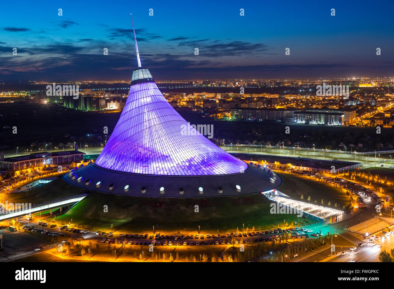 Night view over Khan Shatyr entertainment center, Astana, Kazakhstan, Central Asia - Stock Image