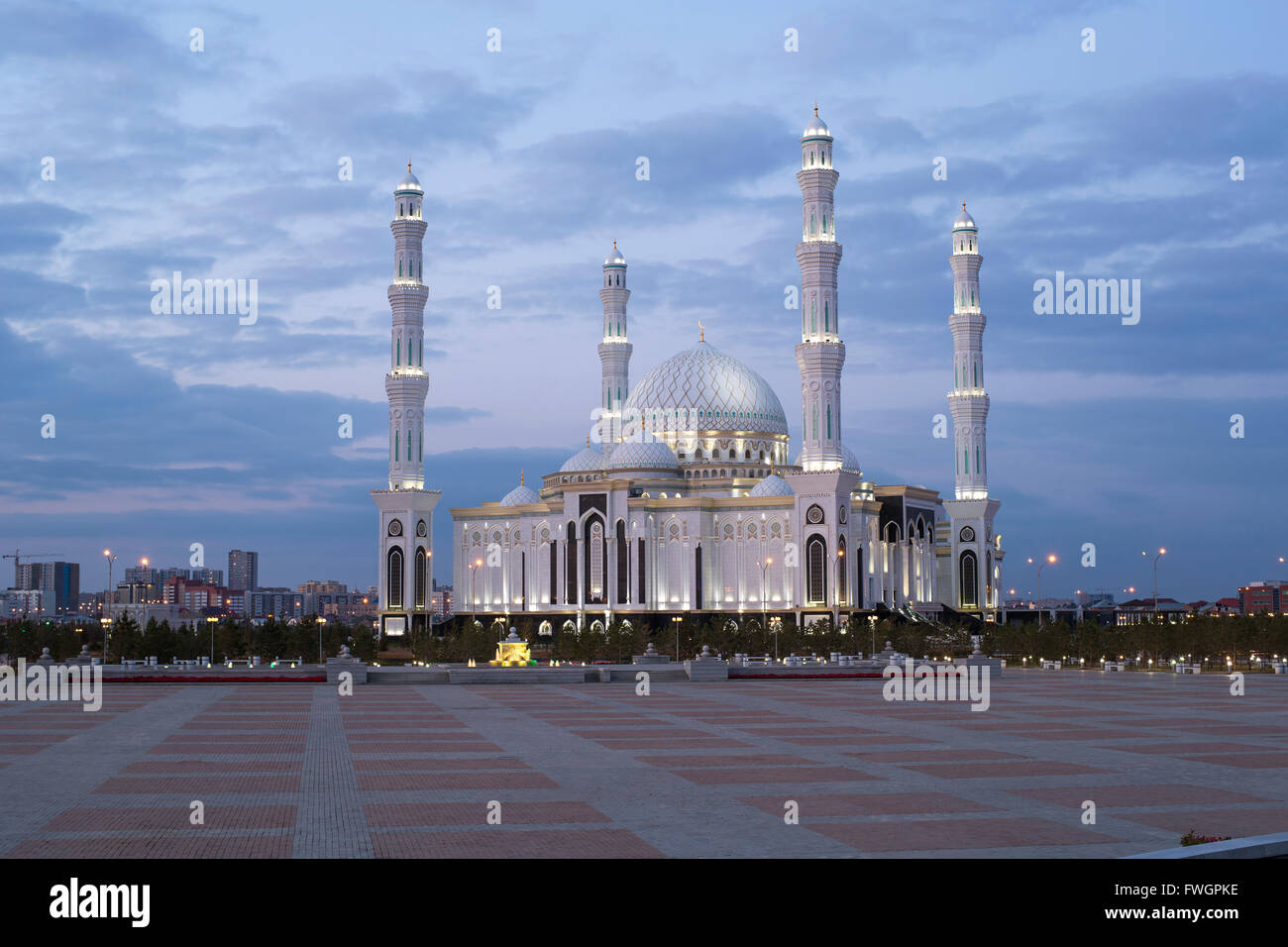 Hazrat Sultan Mosque, the largest in Central Asia, at dusk, Astana, Kazakhstan, Central Asia - Stock Image