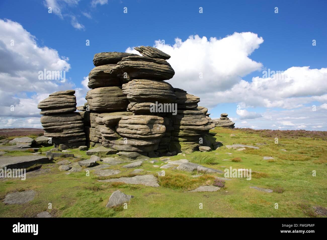 Salt Cellar Rock on Derwent Edge, Peak District National Park, Derbyshire, England, United Kingdom, Europe - Stock Image