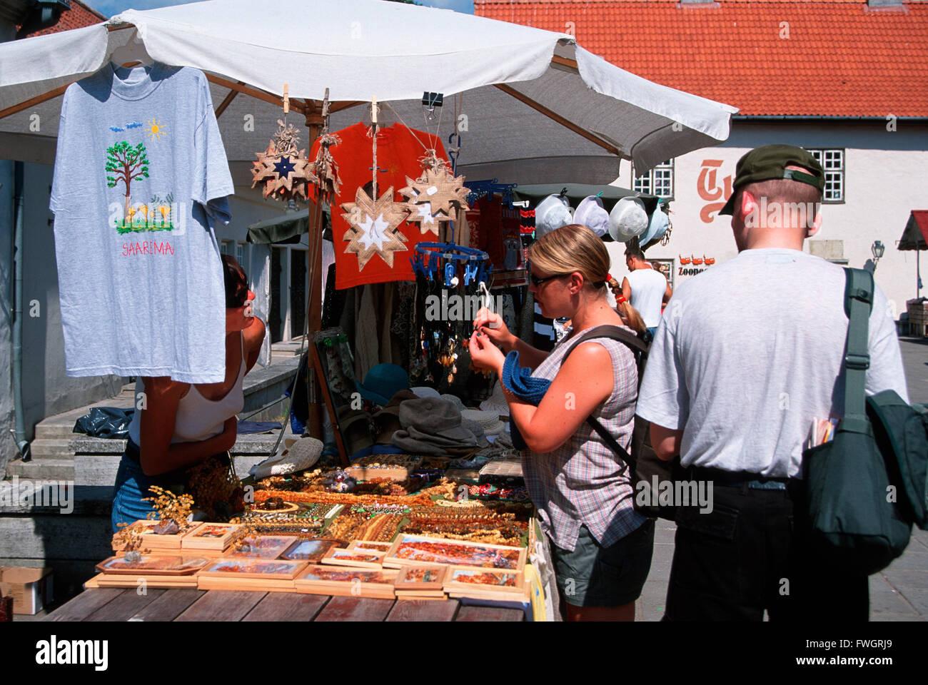 Saaremaa island, Kuressaare, handicraft market, Estonia, Europe - Stock Image