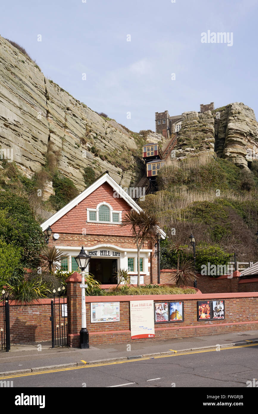 East Hill Lift, Hastings, East Sussex -1 - Stock Image