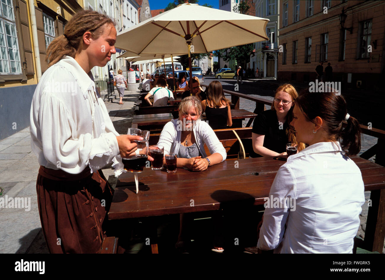 Street cafe in the old town, Tallinn, Estonia, Europe - Stock Image
