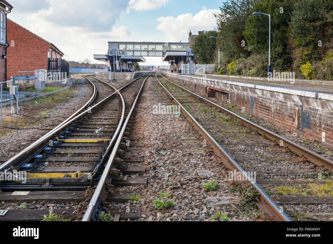 Railway lines on the approach to Sleaford Railway Station, Sleaford, Lincolnshire, England, UK - Stock Image