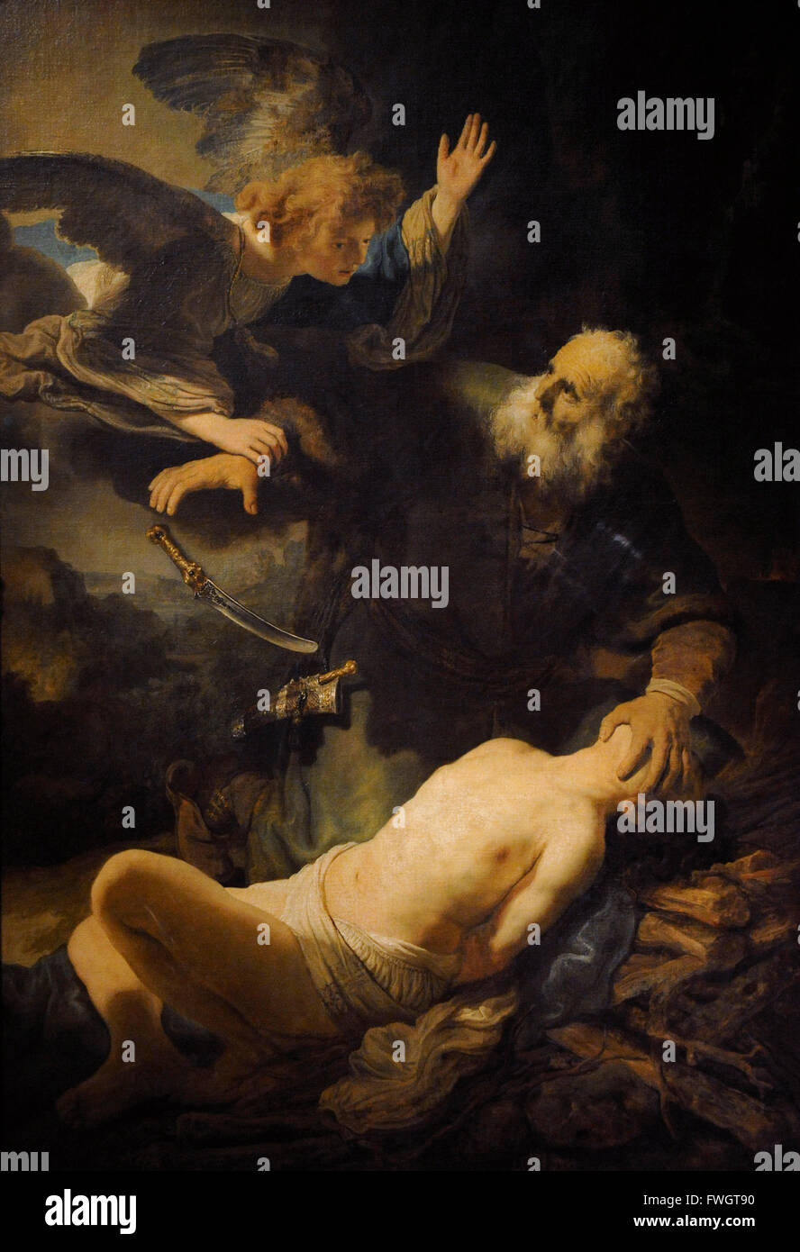 Rembrandt Harmenszoon van Rijn (1606-1669). Dutch painter. Sacrifice of Isaac, 1635. Oil on canvas. The State Hermitage - Stock Image