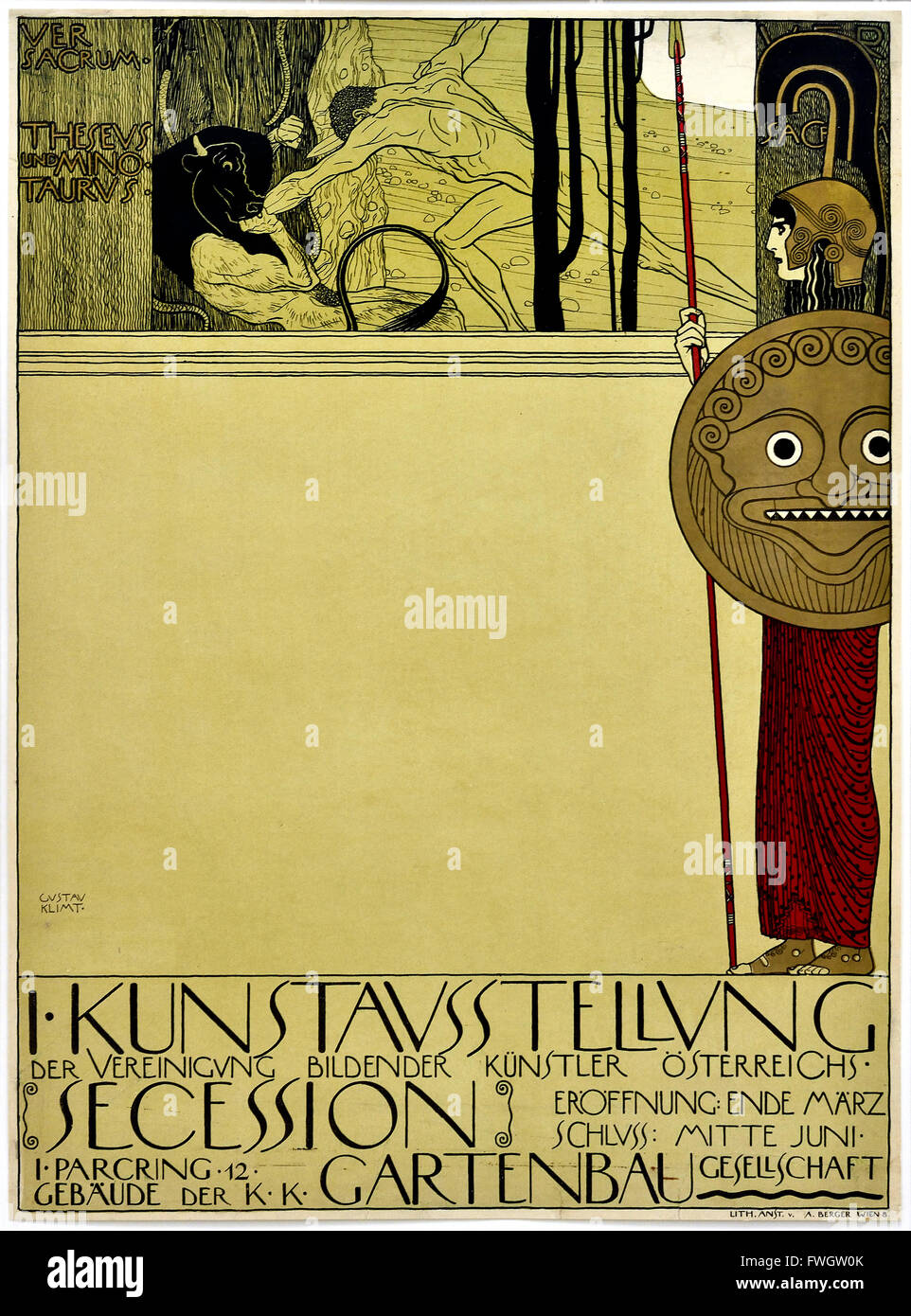 Poster for the first exhibition of the Vienna Secession ( Censored )1898 Gustav Klimt 1862 – 1918 Austrian symbolist - Stock Image