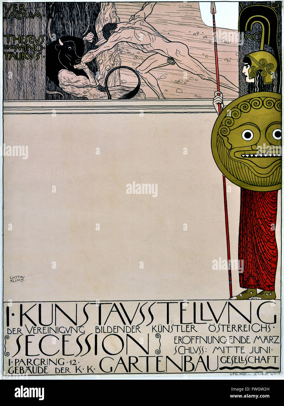 Poster for the first exhibition of the Vienna Secession ( Uncensored ) 1898 Gustav Klimt 1862 – 1918 Austrian symbolist - Stock Image