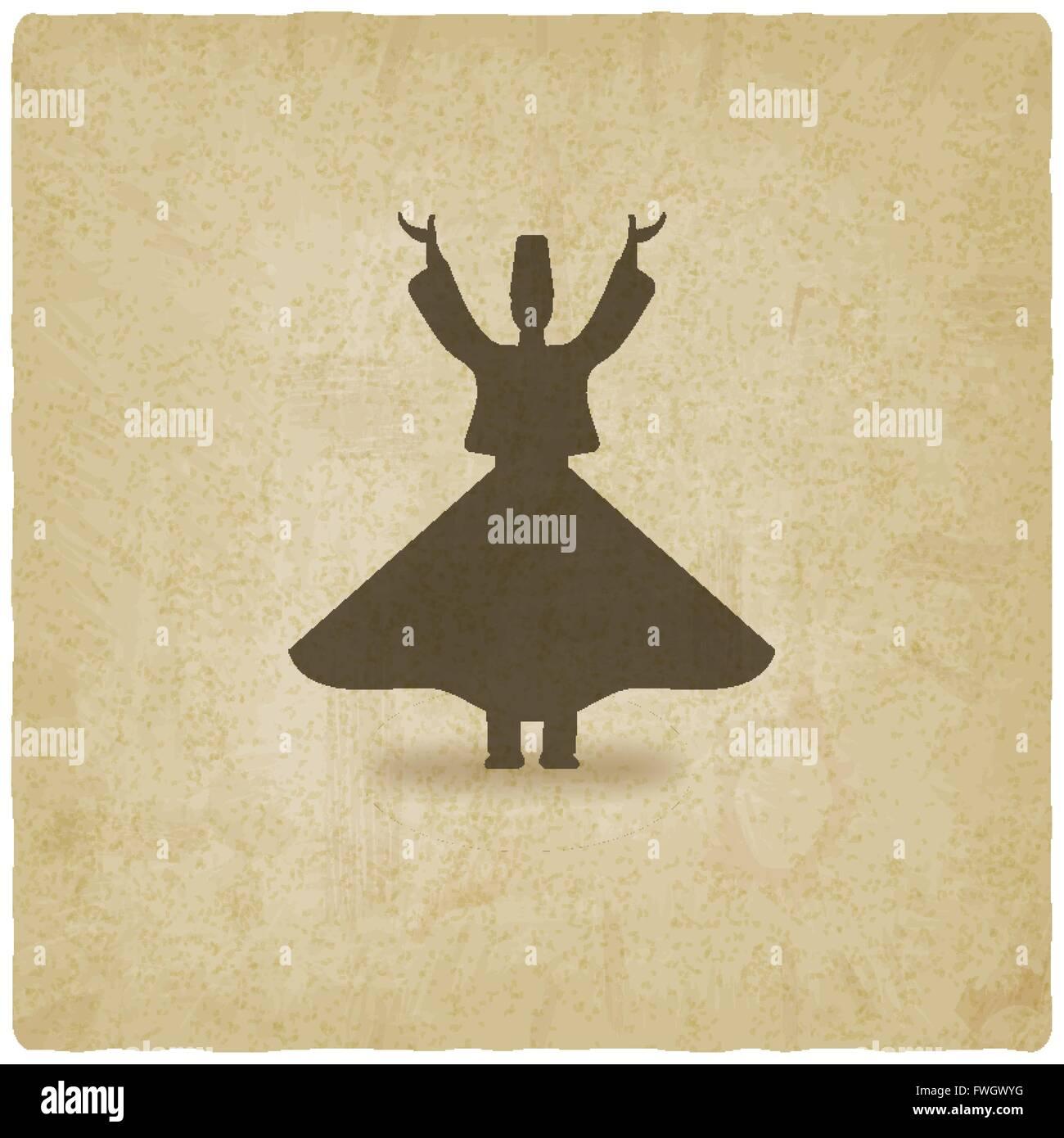 dervish dancer old background - vector illustration. eps 10 - Stock Vector