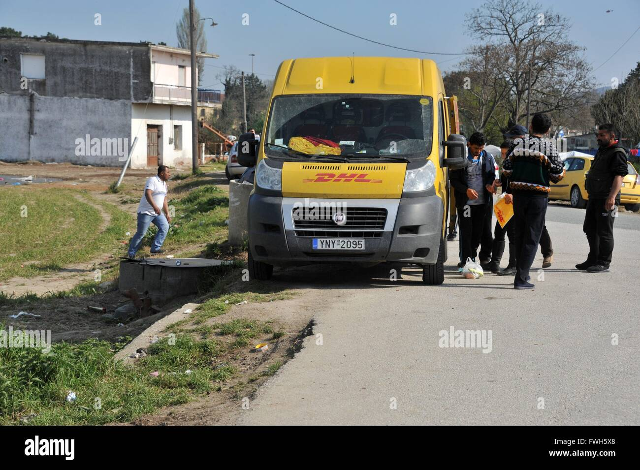 Even DHL comes to Idomeni . - 29 March 2016 - Stock Image