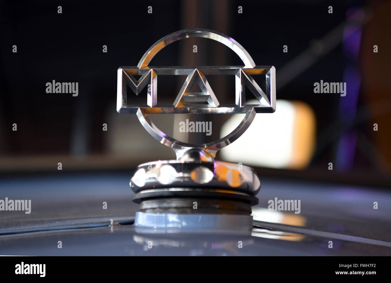 Munich, Germany. 04th Apr, 2016. A historical logo of lorry manufacturer MAN, in Munich, Germany, 04 April 2016. Photo: PETER KNEFFEL/dpa/Alamy Live News Stock Photo