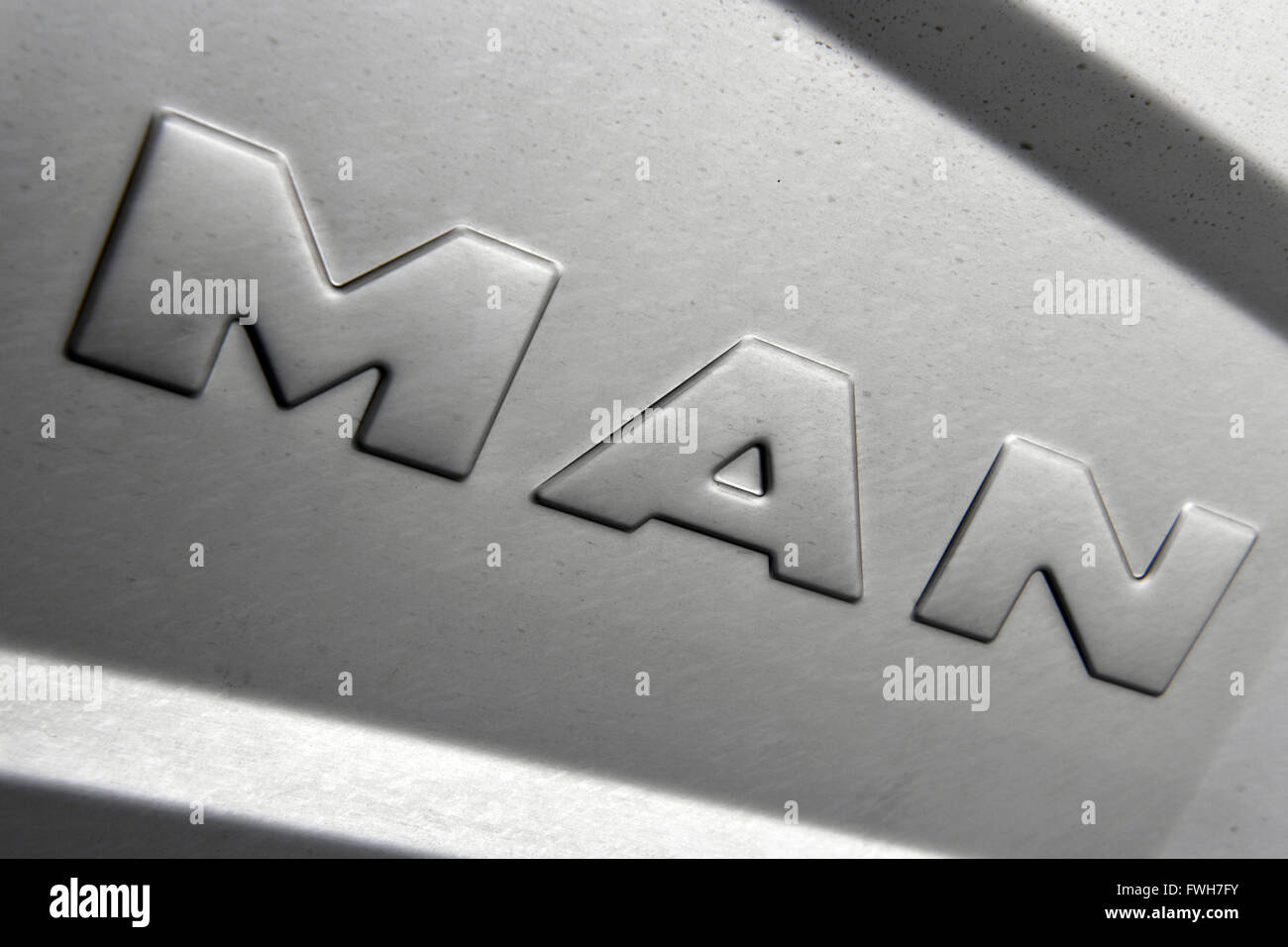 Munich, Germany. 04th Apr, 2016. A corporate logo of lorry manufacturer MAN, in Munich, Germany, 04 April 2016. Photo: PETER KNEFFEL/dpa/Alamy Live News Stock Photo