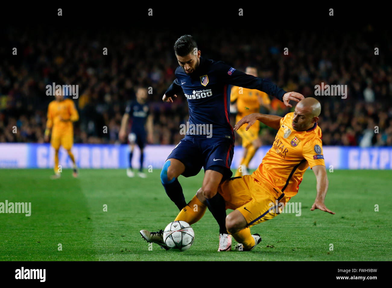 UEFA Champions League Quarter-Finals game between FC Barcelona and Atletico de Madrid. Camp Nou, Barcelona, Spain. - Stock Image