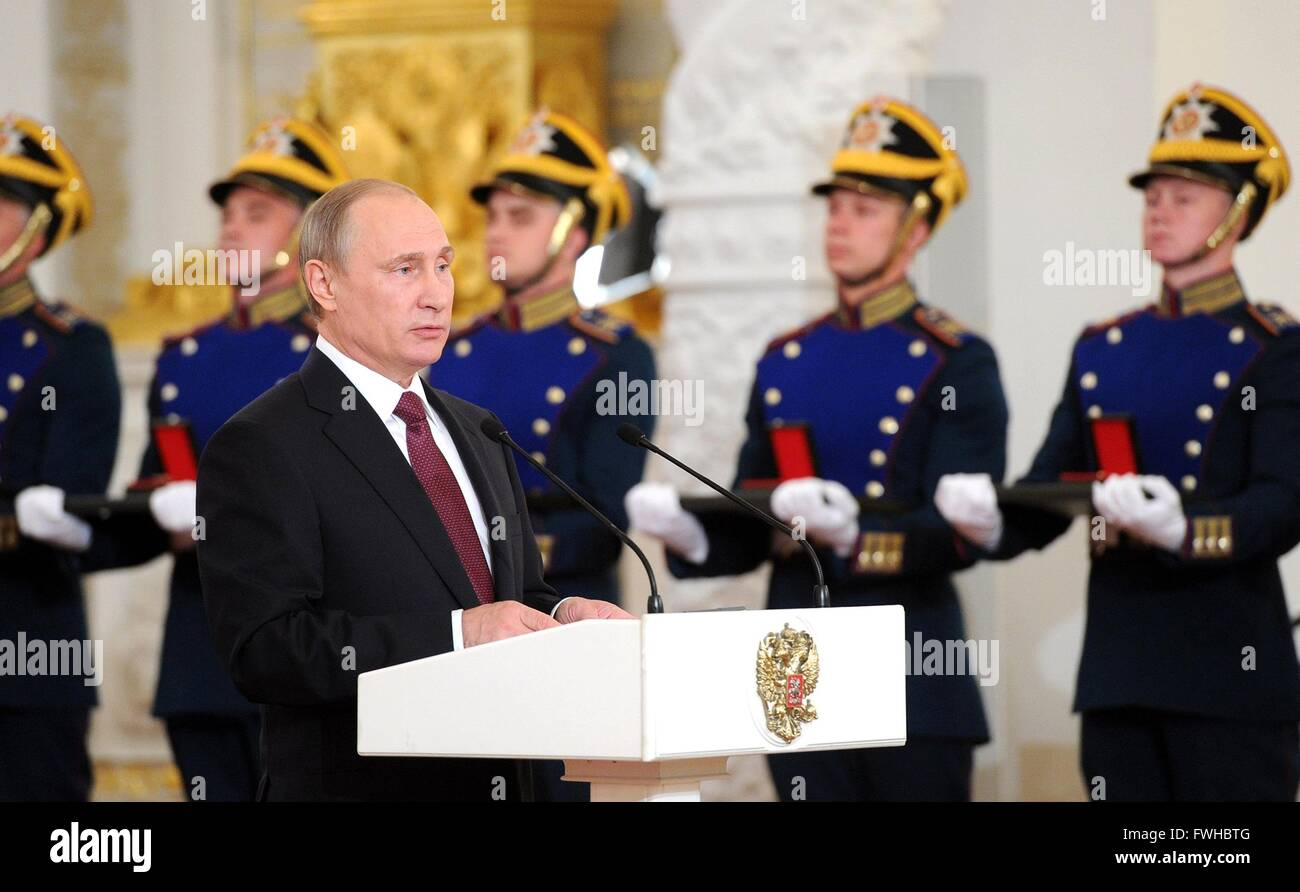 Russian President Vladimir Putin during a ceremony presenting the Russian Federation National Awards at the Kremlin Stock Photo