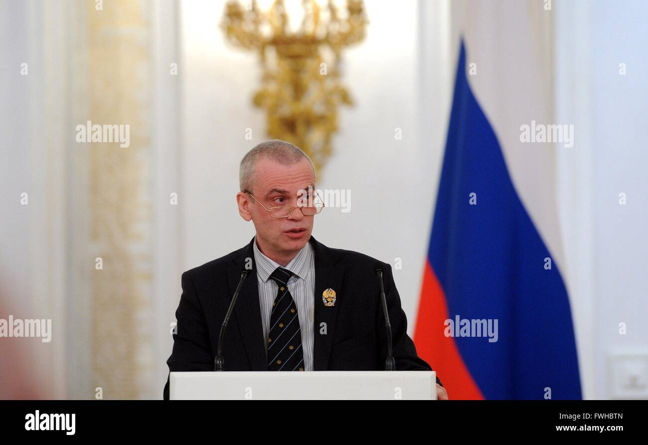Biologist Sergei Lukyanov addresses members during a ceremony presenting the Russian Federation National Awards - Stock Image