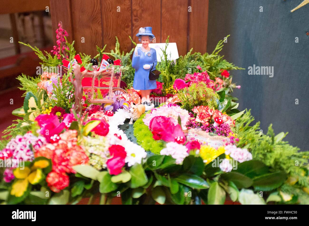 Ascot uk 12th june 2016 st peters church cranbourne flower 12th june 2016 st peters church cranbourne flower festival some of the arrangements commemorated the 90th birthday of the queen izmirmasajfo