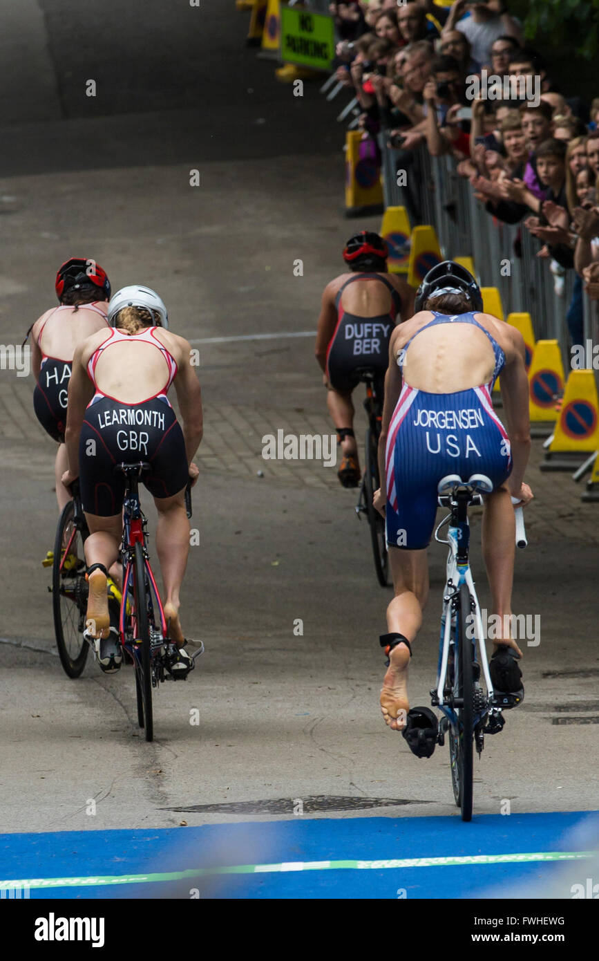 Leeds, UK. 12th June, 2016. Elite Ladies starting cycling leg of WTS Triathlon race in Leeds.  Gwen Jorgensen (in Stock Photo