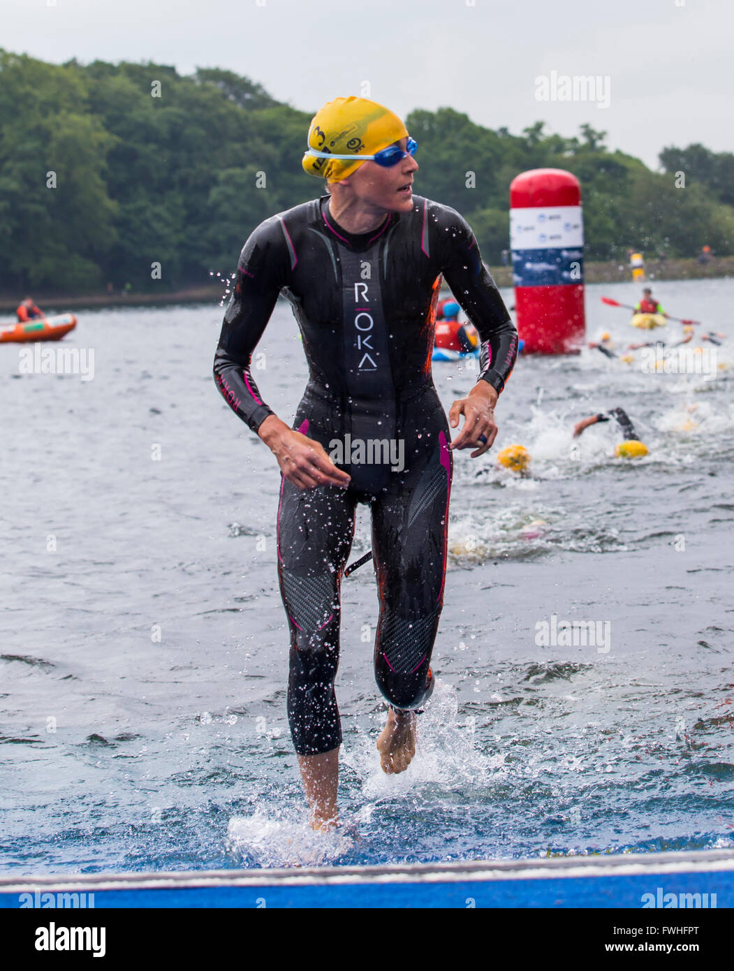 Leeds, UK. 12th June, 2016. Gwen Jorgensen completing the first of 2 laps in the open water swim at Roundhay Park Stock Photo
