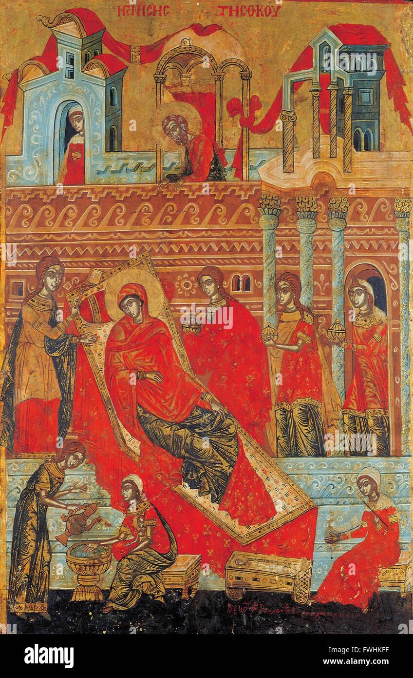 Adrianoupolitis Konstantinos - The Birth of the Virgin - Benaki Museum of Greek Civilization - Stock Image