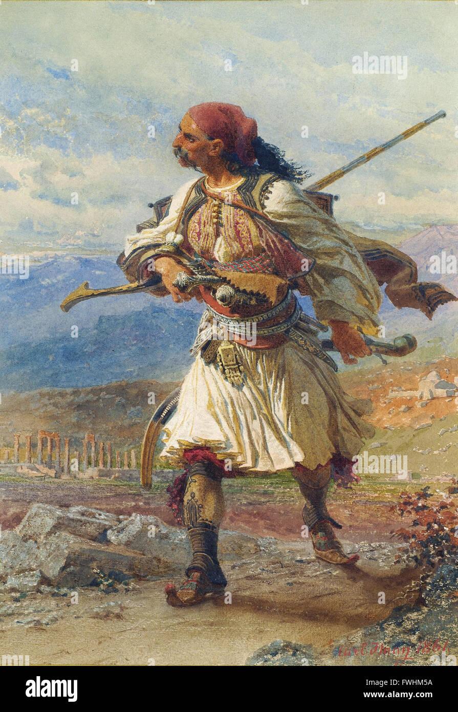 Haag Carl - Greek Warrior - Benaki Museum of Greek Civilization - Stock Image