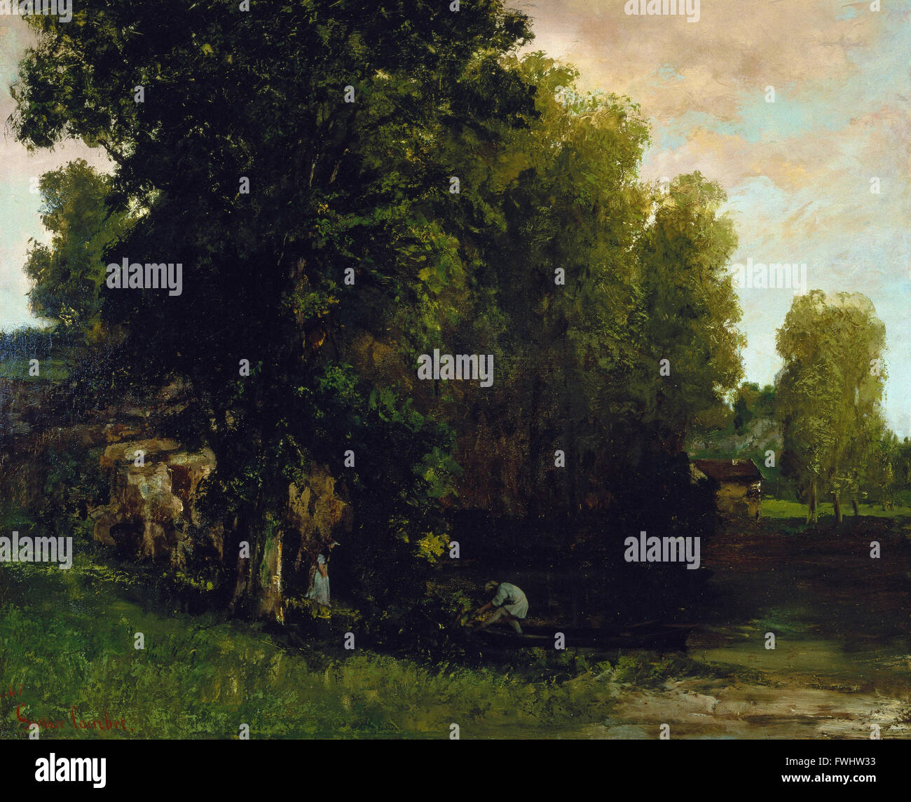 Gustave Courbet - The Edge of the Pool (Au Bord de lEtang) - Brooklyn Museum - Stock Image