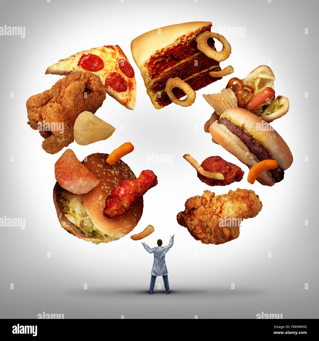 Nutritionist doctor or dietician and dietitian professional unhealthy food concept as a medical physician juggling - Stock Image