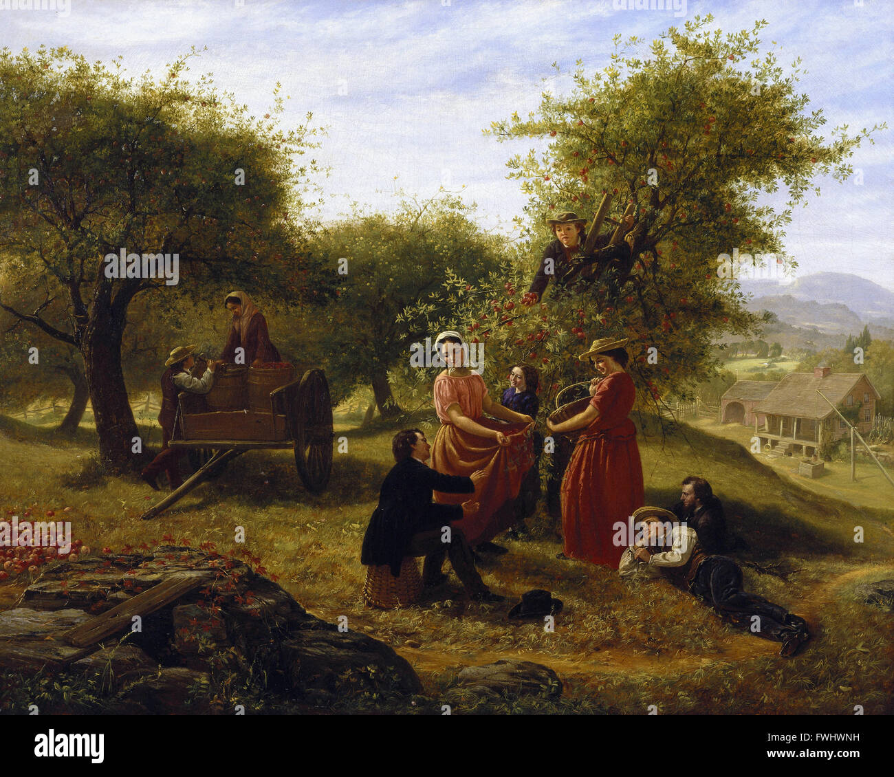 Jerome Thompson - Apple Gathering - Brooklyn Museum - Stock Image