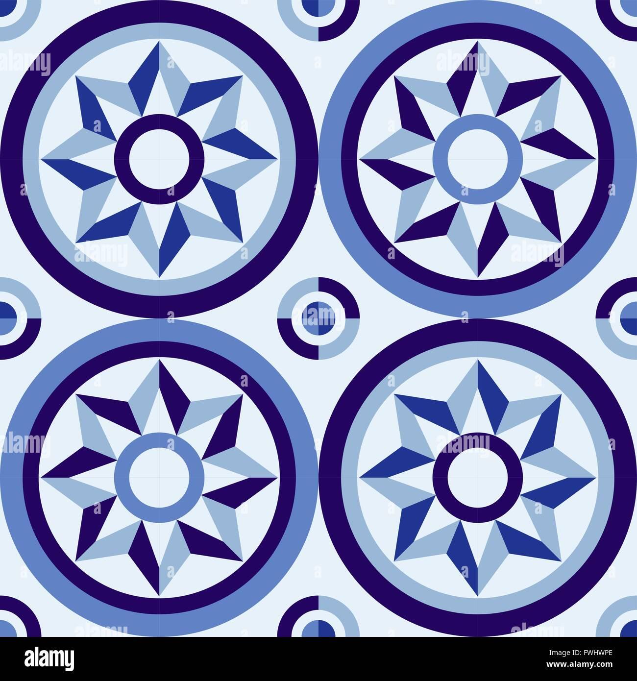 Traditional portugal vintage mosaic tile seamless pattern, geometric ...
