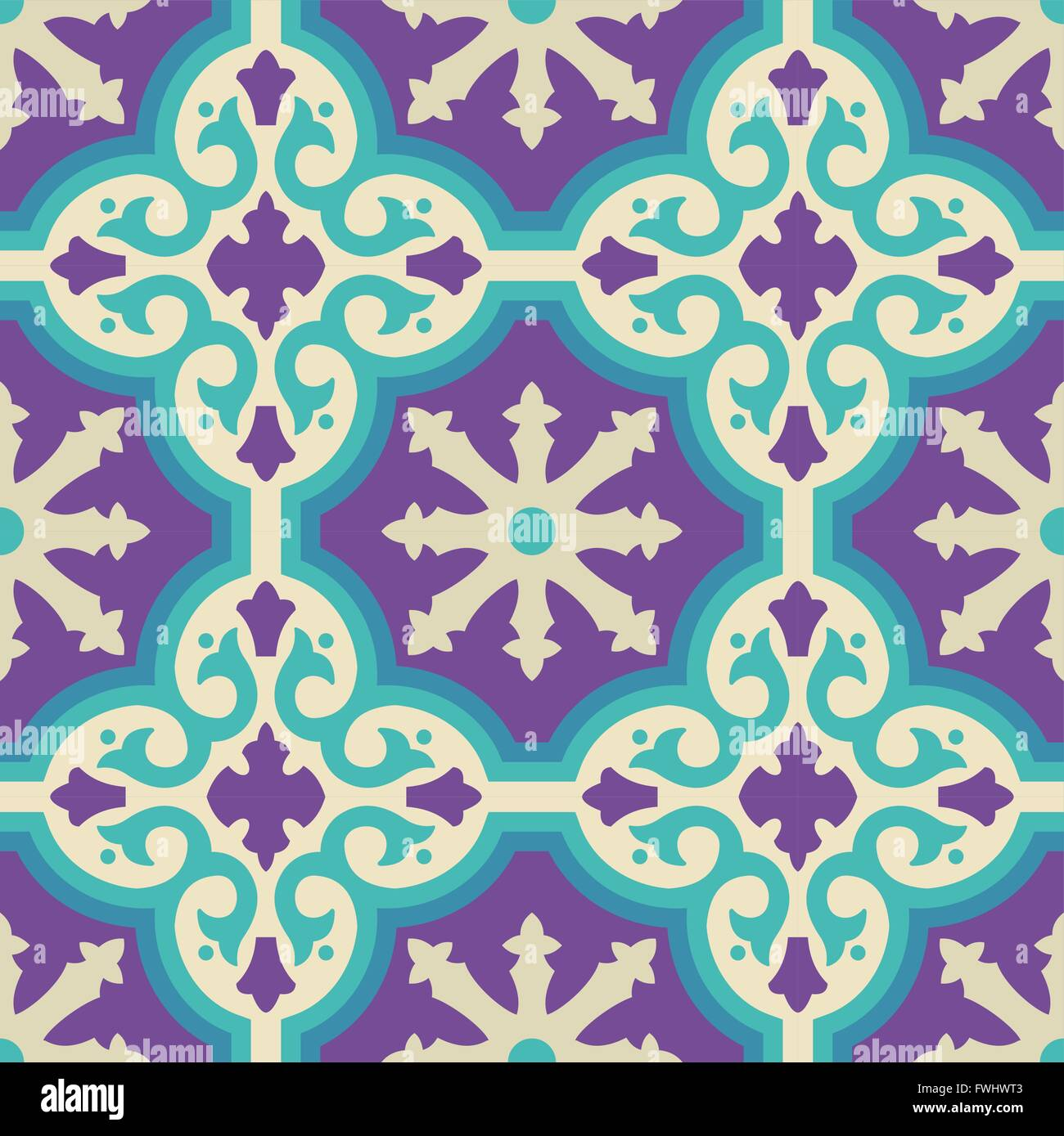 Vintage moroccan ceramic floor tile seamless pattern with geometric ...