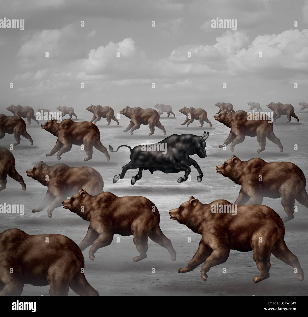 Stock market positive forecast financial concept and contrarian individual financial symbol as a courageous bull - Stock Image