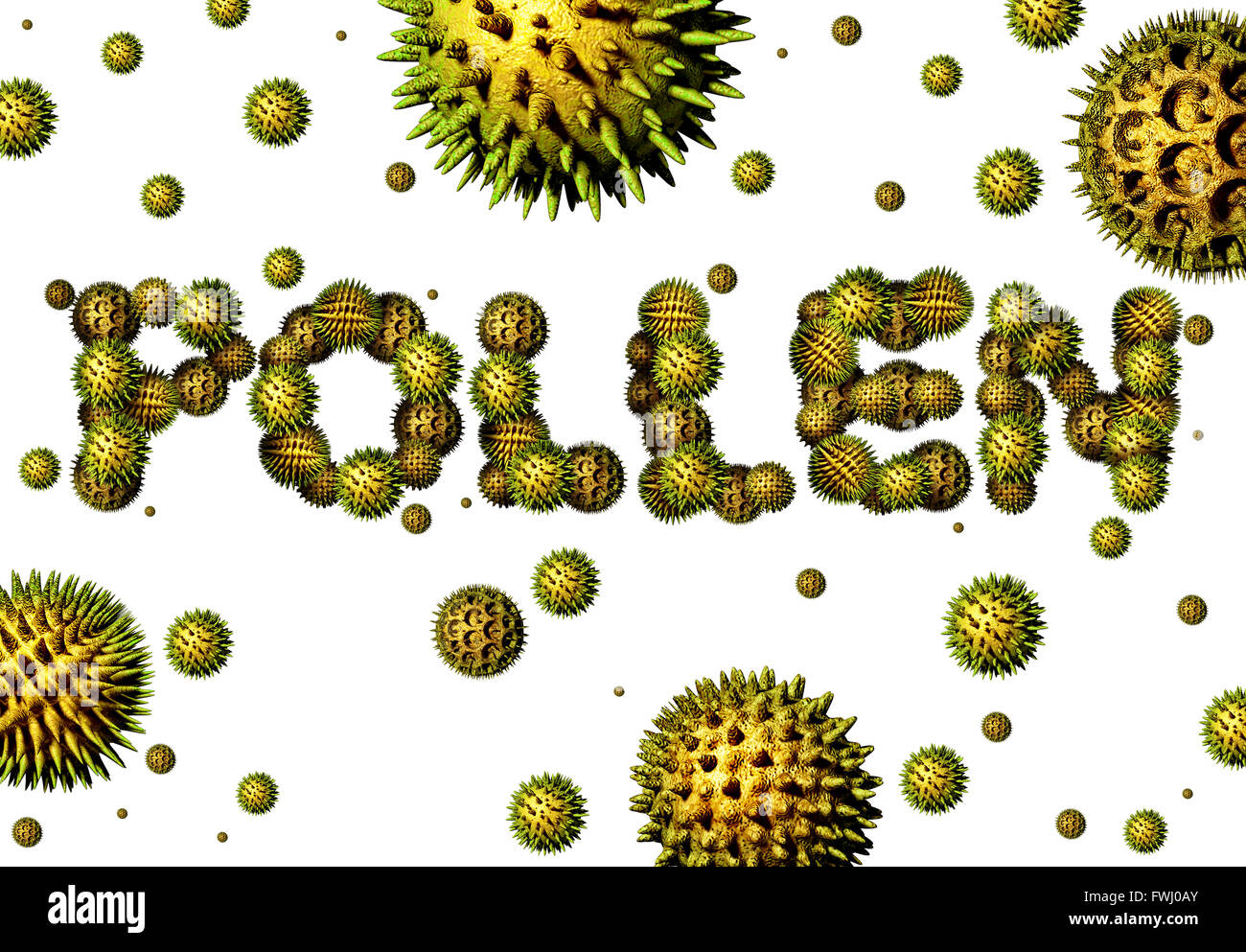 Pollen grains concept as a group of microscopic organic pollination particles shaped as text as flowering plants - Stock Image