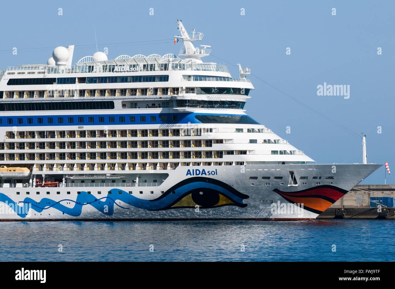 AIDAsol AIDA SOL cruiseship cruiseships ship ships german owned by AIDA cruises - Stock Image