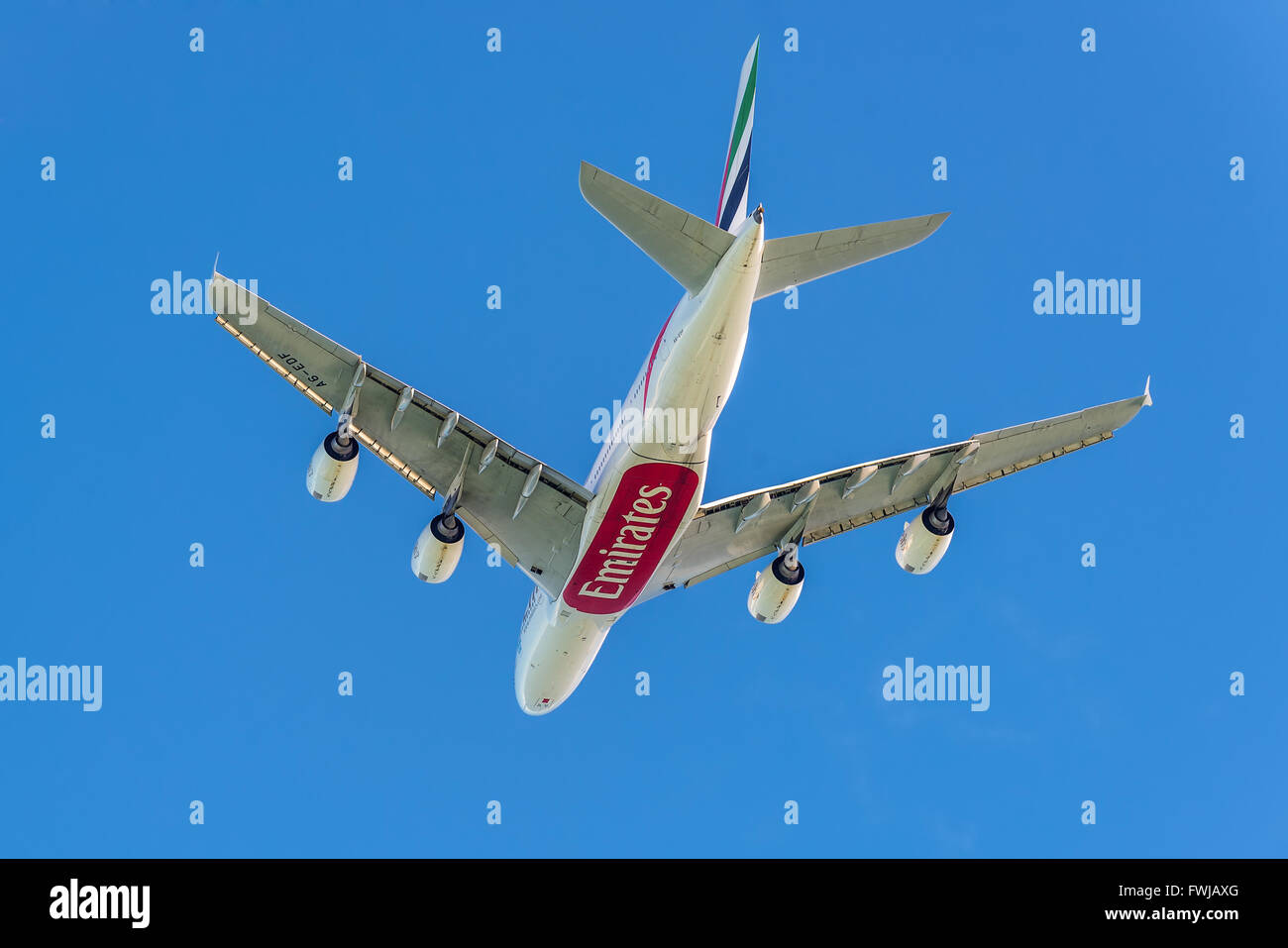 The Airbus A380-841 aircraft of Emirates Airlines takeoff from the Sir Seewoosagur Ramgoolam International Airport - Stock Image