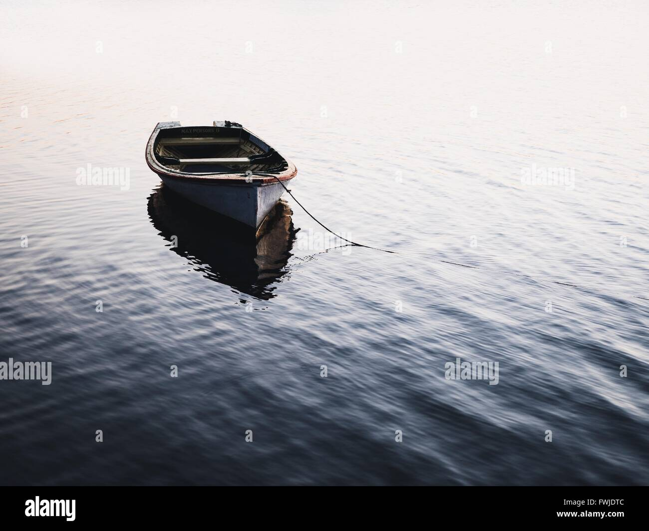 Boat Moored On Lake - Stock Image