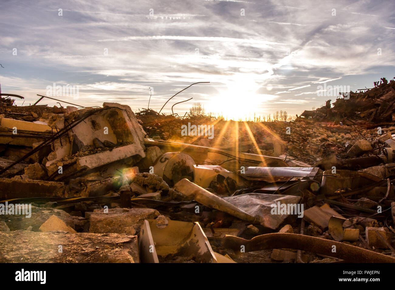 Demolished Building On Field Against Sky During Sunny Day - Stock Image